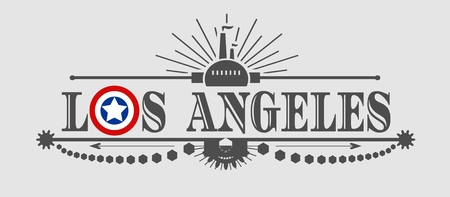 Image relative to USA industry. Los Angeles city name with flag colors styled letter O. Urban industrial cluster. Vintage elements