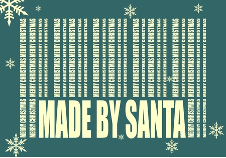 beginnings: New Year and Christmas celebration card template. Made by Santa text. Bar code from merry christmas words. Image for holiday sales