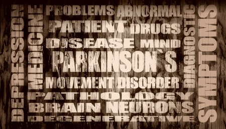 tags cloud: parkinsons syndrome disease tags cloud on wood textured background. glowing letters