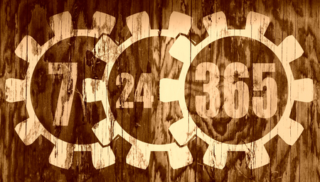 operation for: Time operation mode in gear. Light numbers and cog wheels. For customer support and retail. Seven days twenty four hour 365 day. Stamp on wood textured surface