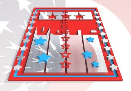 president of the usa: Vote 3D text on USA flag design elements background. Image relative to parliament, president and others elections in United States of America
