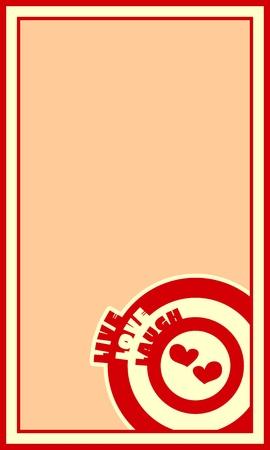 Live Laugh Love wenskaart Template. Cirkels met woorden. Hart icoon. Romantische citaat thema