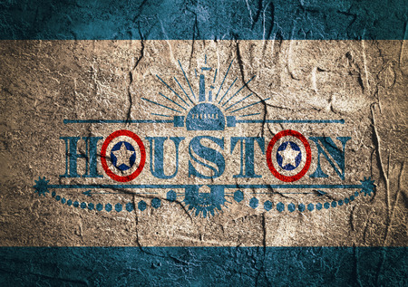 houston flag: Image relative to USA industry. Houston city name with flag colors styled letter O. Urban industrial cluster. Vintage elements. Concrete wall textured surface
