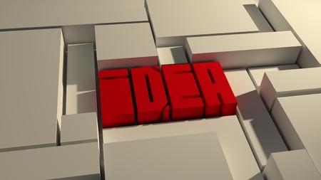 enviroment: Word idea unusual square font. Blue 3D letters in boxes enviroment