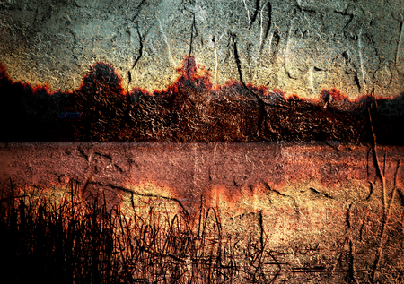 riverside landscape: Riverside landscape grunge textured. Double exposure image. Summer sunset