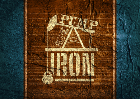 body building: Pump some iron. Gym and Fitness Motivation Quote on concrete background. Creative Typography Poster Concept. Oil pump and power lifting weight icons. Body building relative Stock Photo