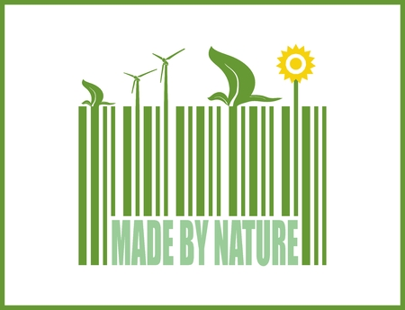 bio fuel: Type of renewable energy info graphics background. There are solar, wind, bio fuel energy for layout, banner, web design, statistic, brochure template. vector illustration. Made by nature on bar code Illustration