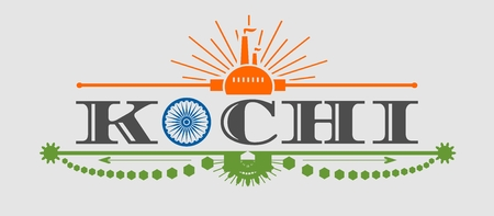 urban area: Image relative to India industry. Kochi city name with flag colors styled letter O. Urban industrial cluster. Vintage elements