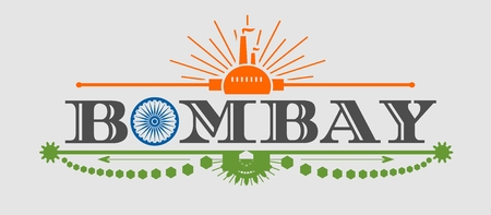 bombay: Image relative to India industry. Bombay city name with flag colors styled letter O. Urban industrial cluster. Vintage elements