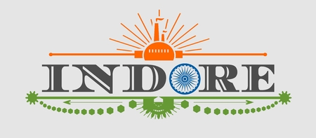 indore: Image relative to India industry. Indore city name with flag colors styled letter O. Urban industrial cluster. Vintage elements Illustration