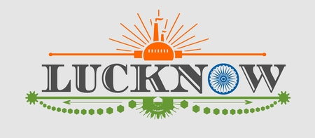 india city: Image relative to India industry. Lucknow city name with flag colors styled letter O. Urban industrial cluster. Vintage elements