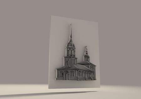 church 3d: Russian orthodox church 3D sketch. Volume curves drawing