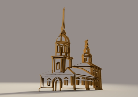 monasteries: Russian orthodox church 3D sketch. Volume curves drawing