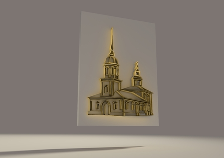 cupola: Russian orthodox church 3D sketch. Volume curves drawing