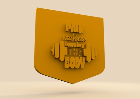 weakness: Pain is weakness leaving the body. Gym and Fitness Motivation Quote. Creative Typography Poster Concept. Letters and dumbbell icons on shield. Body building relative. Motto emblem