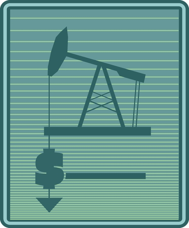 money metaphor: Oil pump and dollar icons. Earth text. Pump money metaphor. Energy and power supply industry relative image