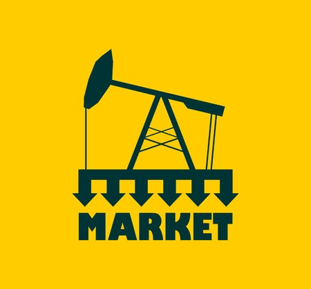 under pressure: Oil pump with arrows. Market under pressure. Text under simple 3d oil pump icon. Global business situation
