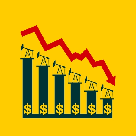 graph down: Oil price fall graph illustration. Oil pump and dollar icons on down fall chart. Red arrow Illustration