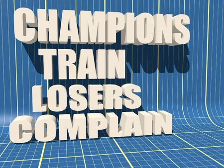 complain: Champions train losers complain. Gym and Fitness Motivation Quote. Creative Typography Poster Concept. Blueprint backdrop Stock Photo