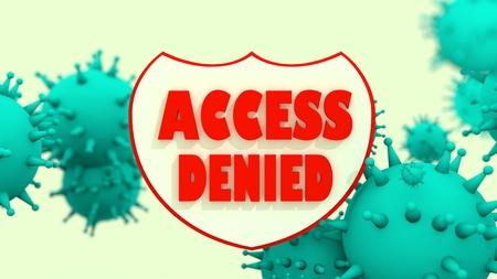 programm: Shield with access denied text and viruse models. Antivirus programm relative image. Internet safery