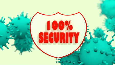 relative: Shield with 100 percent security text and viruse models. Antivirus programm relative image. Internet safery