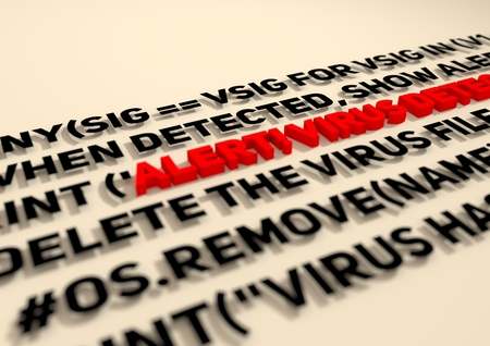 detection: Alert. Virus detection text in computer abstract script code. Antivirus programm relative image. Internet safery