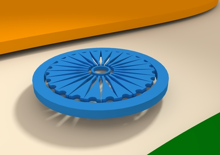 waved: Flag of India. Build from 3d elements. Waved planes