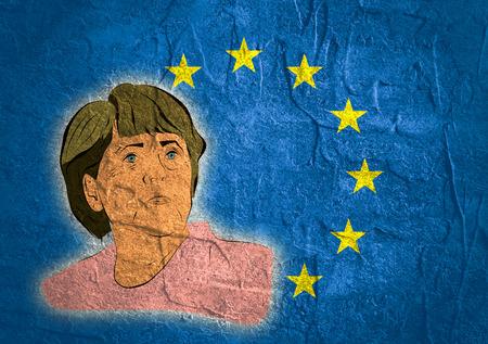 chancellor: January 17, 2016: A illustration of a portrait of german chancellor angela merkel portrait on european union flag background