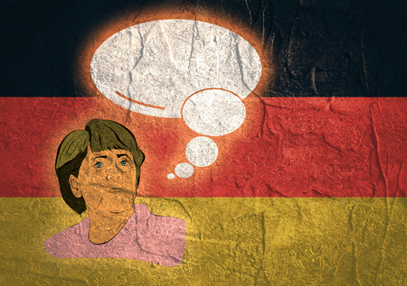 chancellor: January 17, 2016: A illustration of a portrait of german chancellor angela merkel portrait with bubble speech on national flag background