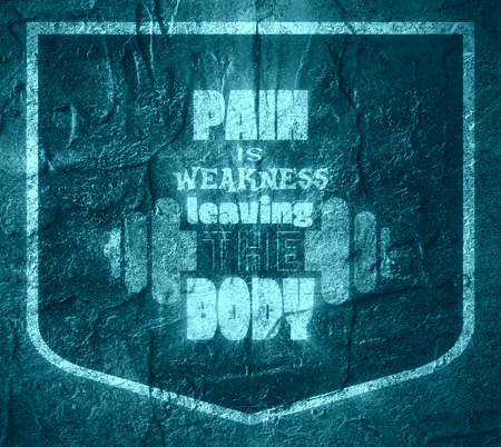 weakness: Pain is weakness leaving the body. Gym and Fitness Motivation Quote. Creative Vector Typography Poster Concept. Letters and dumbbell icons. Body building relative. Concrete wall textured surface