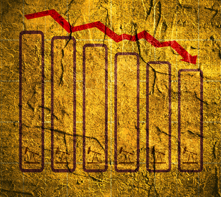 energy crisis: Oil price fall graph illustration. Oil pump on down fall chart. Red arrow. Concrete wall textured surface Stock Photo