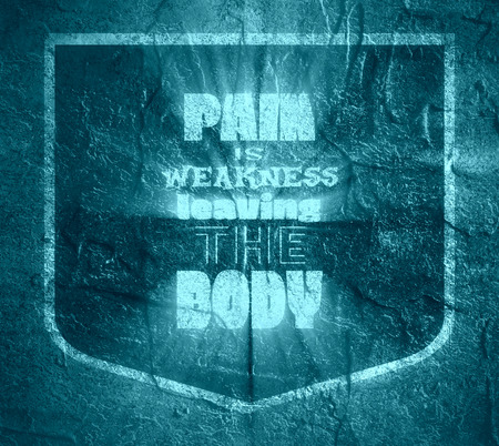 weakness: Pain is weakness leaving the body. Gym and Fitness Motivation Quote. Creative Vector Typography Poster Concept. Body building relative. Concrete wall textured surface