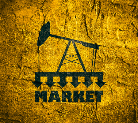 under pressure: Oil pump with arrows. Market under pressure. Text under simple oil pump icon. Global business situation. Concrete wall textured surface