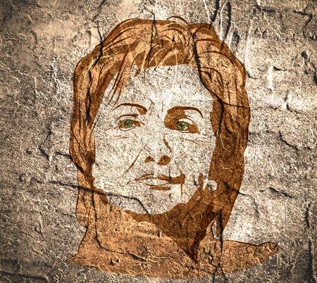burro: 15 de de enero de, 2016: Una ilustración que muestra el demócrata candidato presidencial Hillary Clinton el muro de hormigón con textura de fondo superficie realizado en estilo drenaje de la mano.