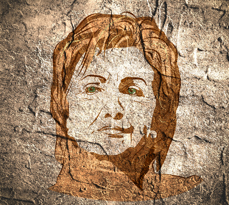 January 15, 2016: A illustration showing Democrat presidential candidate Hillary Clinton on concrete wall textured surface background done in hand draw style. 新闻类图片