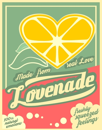 squeezed: Colorful vintage Lemonade label poster vector illustration. New brand name Lovenade. Unusual love drink. Squeezed from feelings and 100 percent natural emotions text. Made from real love tag line Illustration