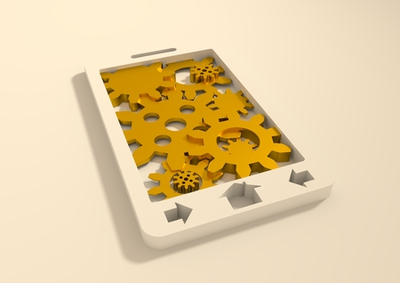 precision: Mobile smartphone with golden cogs gears teamwork icon. Phone as frame filled by cog wheels. Precision mechanism