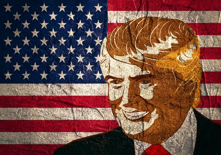 18 de de enero de, 2016: Una ilustración de un retrato del candidato presidencial republicano Donald Trump en el fondo de la bandera nacional por la superficie con textura del muro de cemento Foto de archivo - 54013910