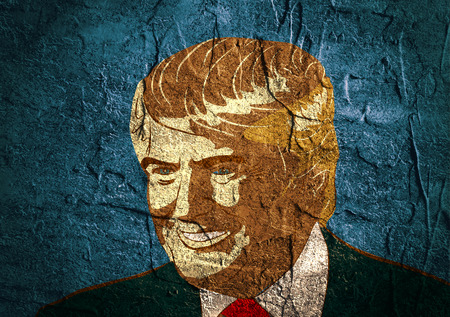 January 18, 2016: An illustration of a portrait of Republican Presidential Candidate Donald Trump on background textured by concrete wall surface