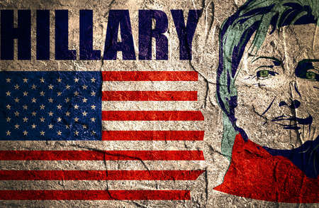 January 15, 2016: A illustration showing Democrat presidential candidate Hillary Clinton on national flag background done in hand draw style