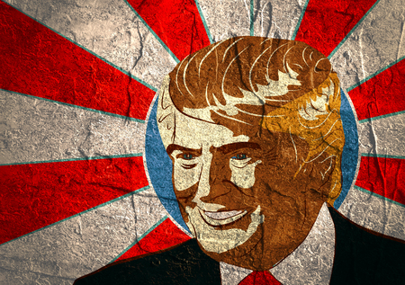 January 18, 2016: An illustration of a portrait of Republican Presidential Candidate Donald Trump on sun rays background textured by concrete wall surface
