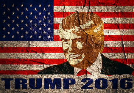 donald: January 18, 2016: An illustration of a portrait of Republican Presidential Candidate Donald Trump on national flag background textured by concrete wall surface