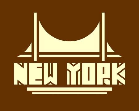 urban scene: Image relative to USA travel theme. New York city name with bridge cutout silhouette. Urban scene. Creative Vintage Typography Poster Concept. Illustration