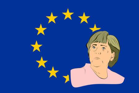 chancellor: January 17, 2016: A vector illustration of a portrait of german chancellor angela merkel portrait on european union flag background Illustration