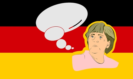 January 17, 2016: A vector illustration of a portrait of german chancellor angela merkel portrait with bubble speech on national flag background