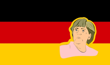 reform: January 17, 2016: A vector illustration of a portrait of german chancellor angela merkel portrait on national flag background