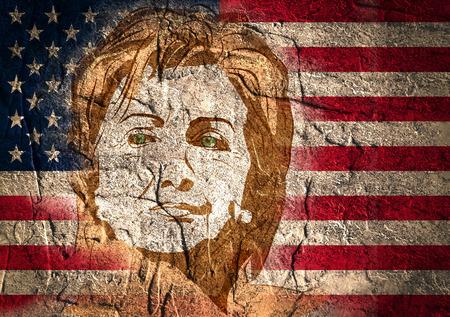 15 januari, 2016: Een illustratie die Democraat presidentiële kandidaat Hillary Clinton op nationale in hand getrokken vlagachtergrond toont trekt stijl Stockfoto - 54013993