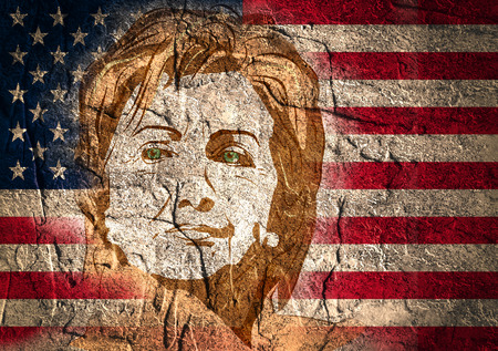 January 15, 2016: A illustration showing Democrat presidential candidate Hillary Clinton on national flag background done in hand draw style Imagens - 54013993