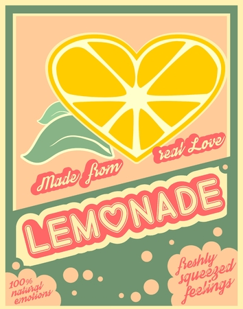 Colorful vintage Lemonade label poster vector illustration.  Unusual love drink. Squeezed from feelings and 100 percent natural emotions text. Made from real love tag line