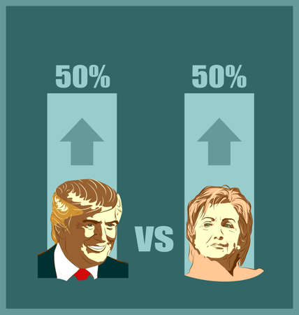 results: March 1, 2016: A vector illustration of a portrait of Presidential Candidates Donald Trump and Hillary Clinton for show result of elections